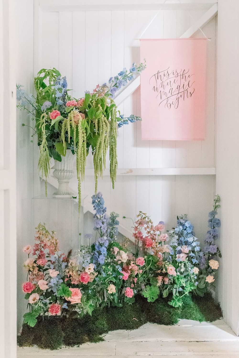 Bright non-traditional wedding floral design