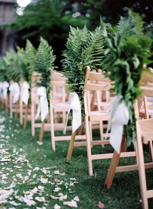 Fern chair decoration wedding pew ends DIY