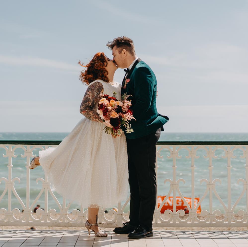 Brighton beach colourful unique wedding tattoo bride
