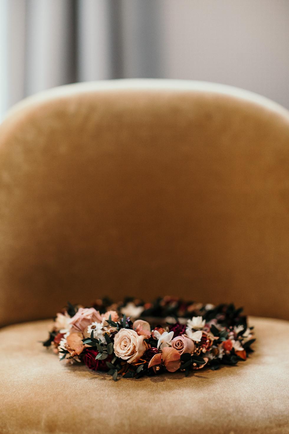 Flower crown on chair