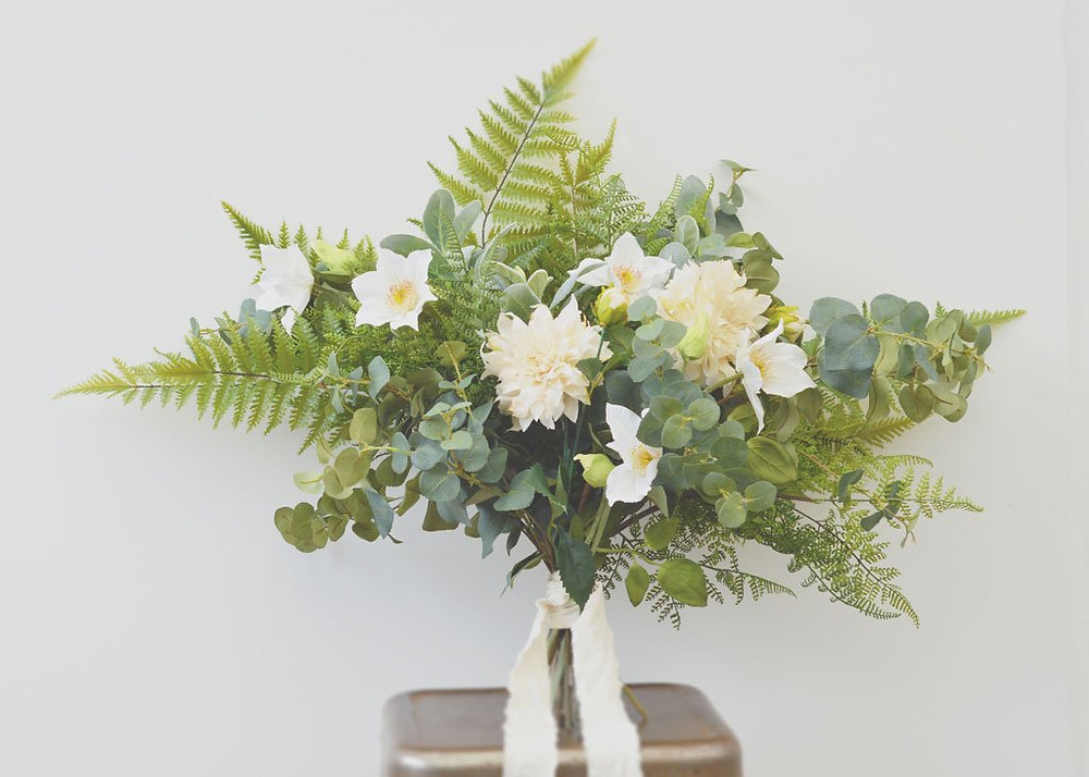 Faux greenery bouquet foliage DIY wedding