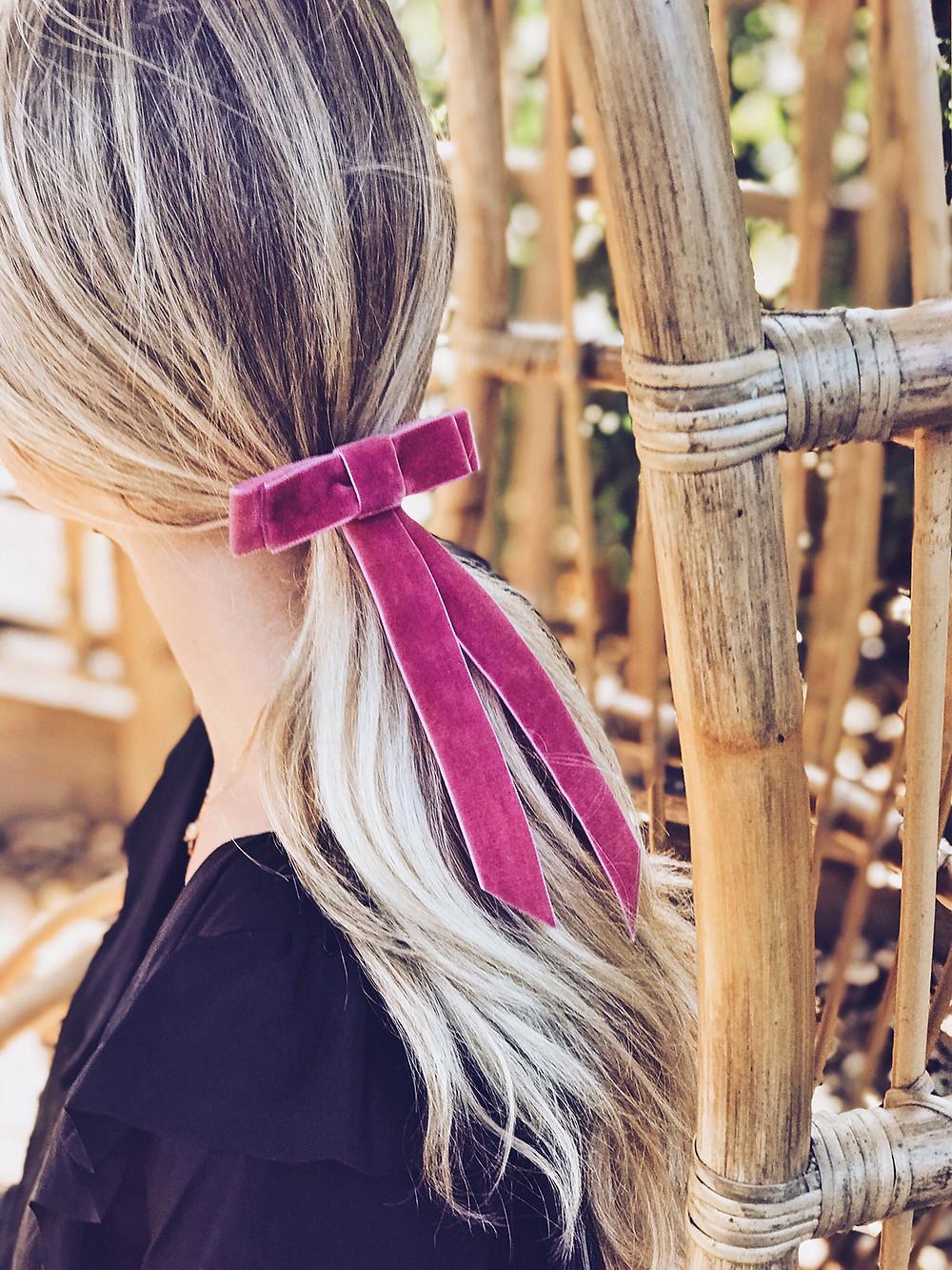 bridal bow velvet low ponytail diy tutorial