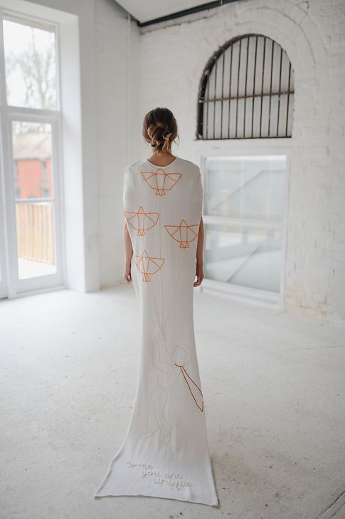 Bride silk knitted wedding dress bridal cape embroidered minimalist