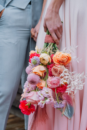 bright and colourful wedding bouquet