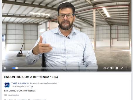 Jonas Tilp no programa Encontro com a Imprensa, na TV da Cidade Joinville