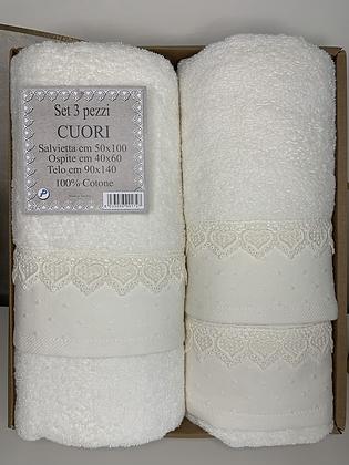 Set asciugamani Cuori 3 pezzi
