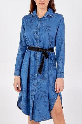 Button Down Breastfeeding Friendly Denim Look Floral Print Dress