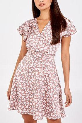 Pink Wrap Front Breastfeeding Friendly Dress