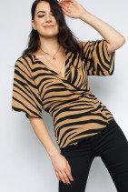 Missi Zebra Print Wrap Top
