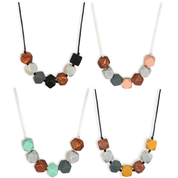 Mama & Belle Teething Necklace Jewellery - Aurora Mint Quartz Onyx Mustard