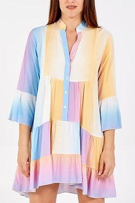 Breastfeeding friendly Maternity Pregnancy friendly button down ombre smock dress