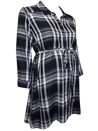 Black Check Shirt Maternity Dress