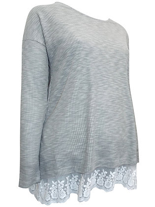 Grey Ribbed Long Sleeve Maternity Top