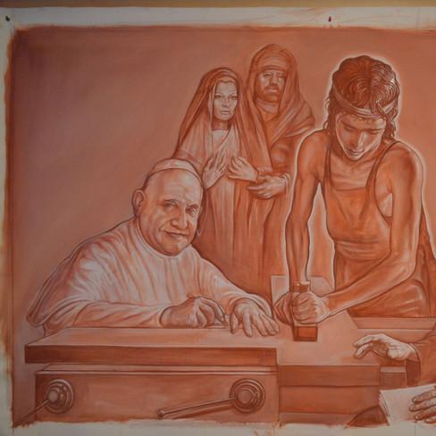 CHRIST TEENAGER, between pope John XXIII and don Mazzolari, working his cross