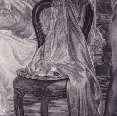SLEEP, NIGHTMARE AND AWAKENING (detail of chair with silk dressing gown and peeled lemon)