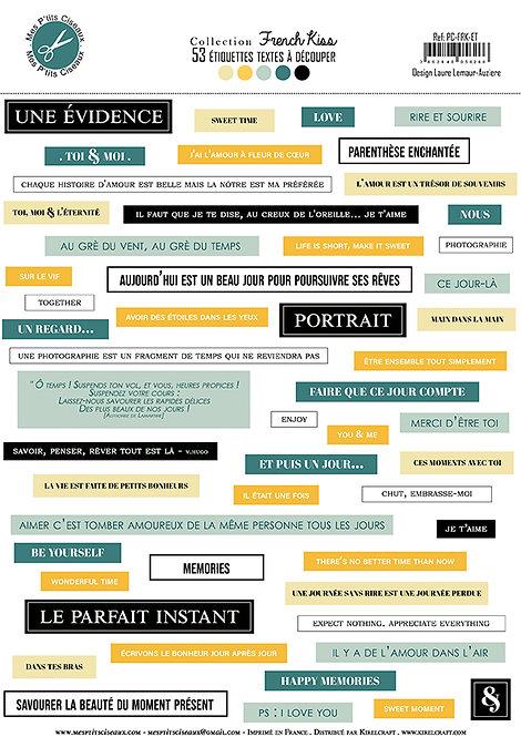 Planche d'étiquettes A4 French Kiss -Mes Ptits Ciseaux