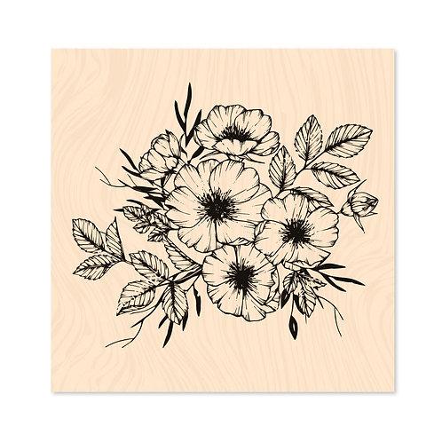 Tampon bois Cosmos fleurs - Les Ateliers de Karine-Hey Baby !