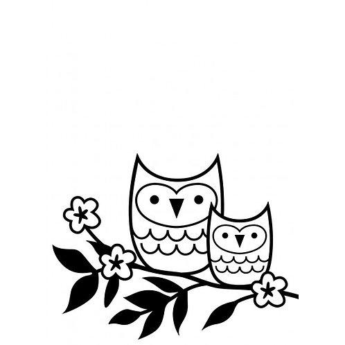 Plaque de gaufrage owls on twig