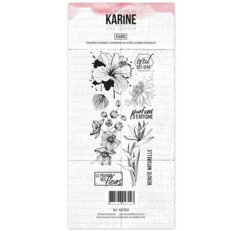 Tampons clears Fleurs - Les Ateliers de Karine- Long Courrier