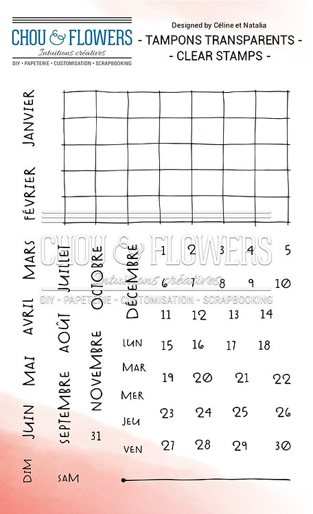 Tampon Clear Calendrier perpétuel Chou & Flowers Esprit Cottage