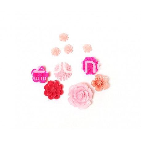 Lot de fleurs en résine rose