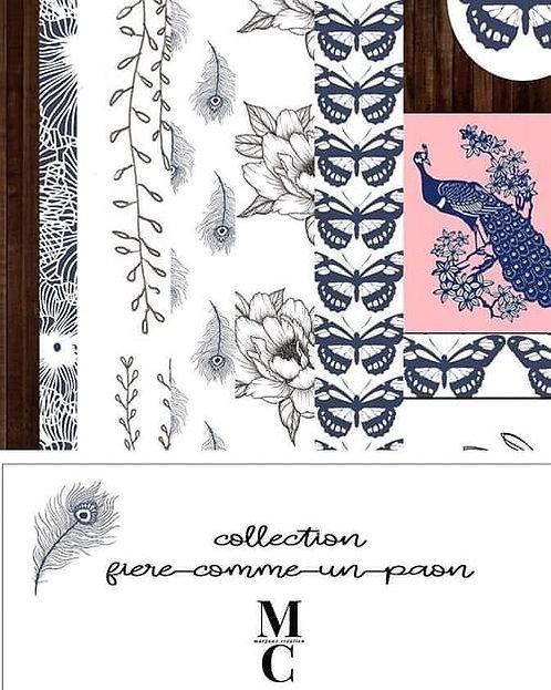 Collection papiers A4 Fière comme un paon Margaux Création