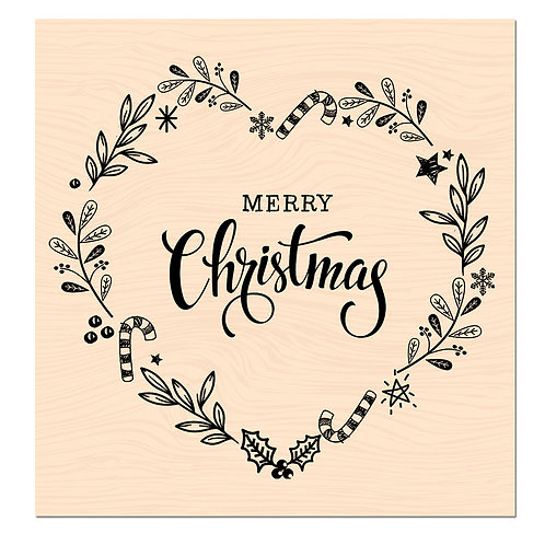 Tampon bois Merry Christmas - Les Ateliers de Karine -Woodland