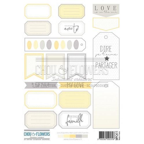 Planche d'étiquettes et de mots à découper Chou & Flowers Mon petit côté Famille