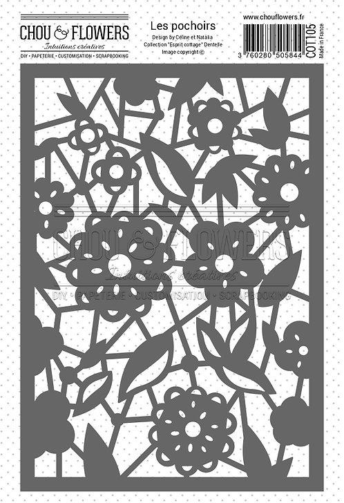 Pochoir Dentelle Chou & Flowers Esprit Cottage