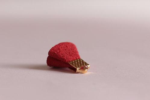 Pompon suédine petite fleur rouge