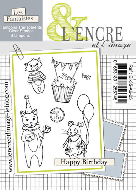 Tampons clears Happy Birthday - L'Encre et l'Image