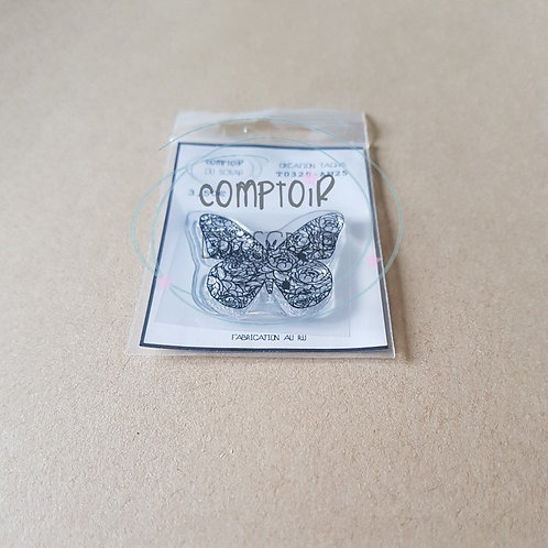 Tampon Papillon fleuri Comptoir du Scrap