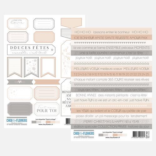 Planche d'étiquettes et de mots à découper Chou & Flowers Esprit Cottage