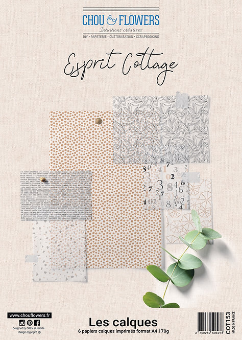 Collection papiers calque Chou & Flowers Esprit Cottage