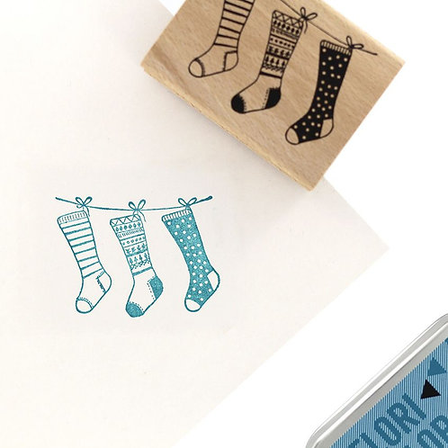 Tampon bois Chaussettes de Noël Florilèges Design