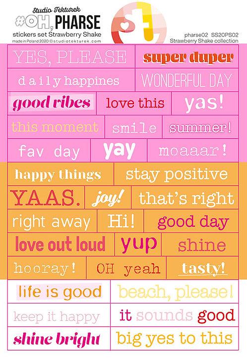Set de stickers phrases02 Strawberry Shake STUDIO TEKTUREK