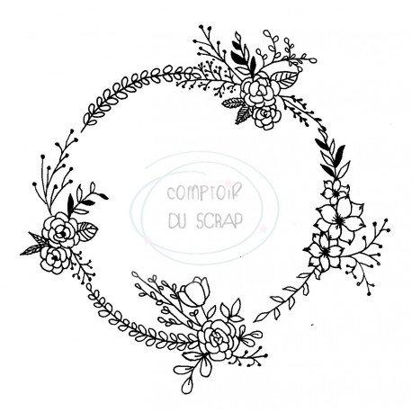 Tampon Couronne fleurie Comptoir du Scrap