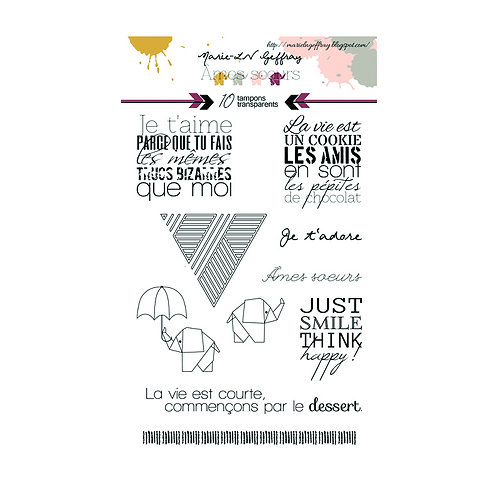Tampons clears planche A6 par LILOU collection Âmes soeurs 2