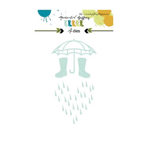 Set Dies Il pleut il mouille Marie-LN Geffray collection Octobre