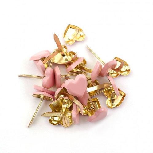 Brads coeurs rose pastel