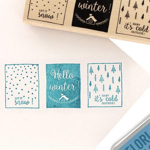 Tampon bois Hello Winter Florilèges Design
