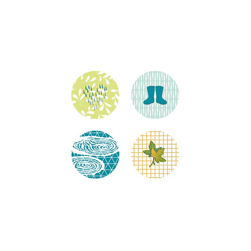Lot de 4 badges Marie-LN Geffray collection Octobre