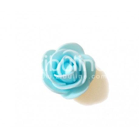 Fleur en mousse bleu clair