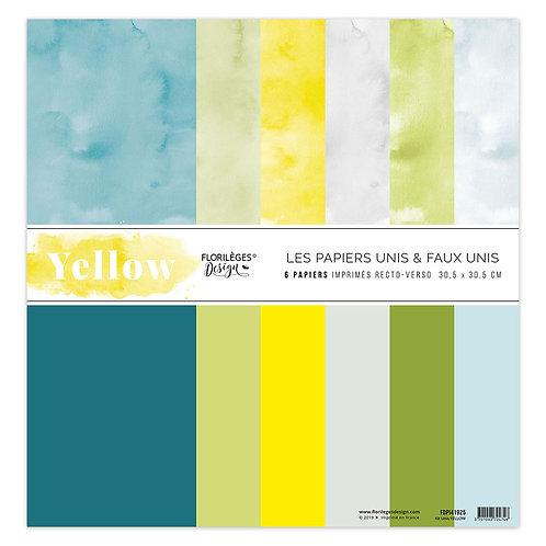 Kit papiers unis Yellow Florilèges Design