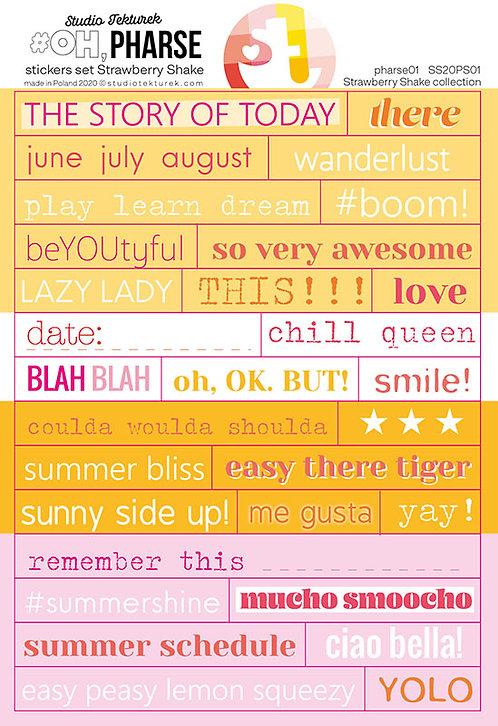 Set de stickers phrases01 Strawberry Shake STUDIO TEKTUREK