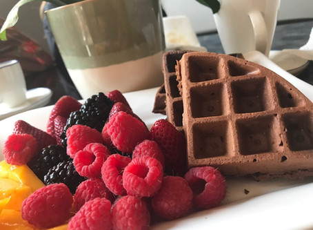 Delicioso Waffle de Chocolate e Farinha de Amêndoas - Glutén, Açúcar e Latícionios-Free