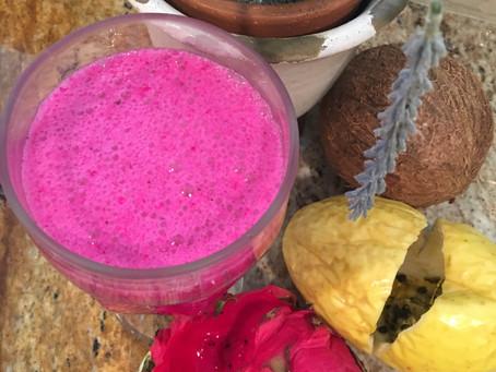 Suco de Fruta do Dragão, Maracujá e Leite de Côco - Poderoso Antioxidante - Melhore a Imunidade e as