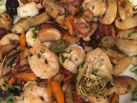 Sautéed Shrimp with Vegetables and Sweet Potato Pure - Nutrient Dense Meal in a 15 Dollars Budget