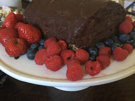 Decicious Gluten / Dairy-Free Cake Roll with Red Fruit Jam and Dark Chocolate Top - Paleo