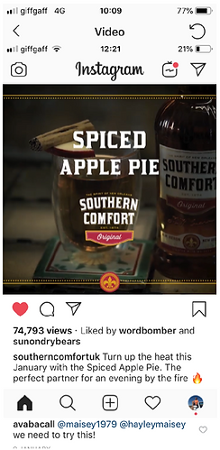 Southern Comfort Instagram content